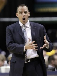 Indiana Pacers head coach Frank Vogel questions a call in the first half of an NBA first-round playoff basketball game against the Orlando Magic in Indianapolis, Saturday, April 28, 2012. (AP Photo/Michael Conroy)