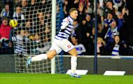 Queens Park Rangers' midfielder Adel Taarabt celebrates scoring during the English Premier League football match between Queens Park Rangers and Fulham at Loftus Road in London on December 15, 2012