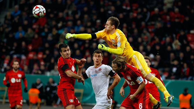 Leverkusen's goalkeeper Leno makes a save during their German Cup (DFB Pokal) soccer match against Kaiserslautern in Leverkusen
