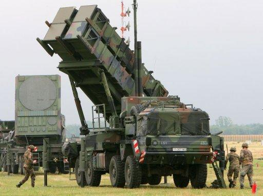 "Air Defence Missile Squadron 2 with a Patriot missile launcher during an exercise at training site Warbelow near Gnoien, northern Germany, in 2008. NATO chief Anders Fogh Rasmussen on Wednesday said the alliance would consider ""without delay"" a request from member Turkey for a deployment of surface-to-air Patriot missiles to protect its troubled border with Syria"