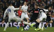 Football Soccer - Real Madrid v Napoli - UEFA Champions League Round of 16 First Leg - Estadio Santiago Bernabeu, Madrid, Spain - 15/2/17 Real Madrid's Casemiro in action with Napoli's Dries Mertens Reuters / Susana Vera Livepic