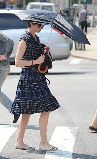 Anne Hathaway on set of new film Song One in New York