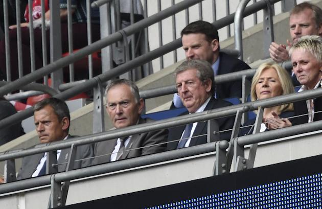 Football: England manager Roy Hodgson and Premier League Chief Executive Richard Scudamore watch from the stands