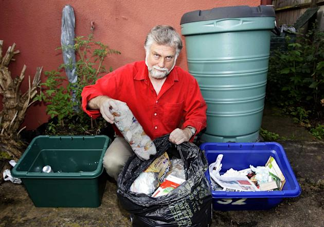 John, 60, has picked through his leftovers since last New Year's Day and has put all his uneaten food on a compost heap in his garden. Picture: NTI