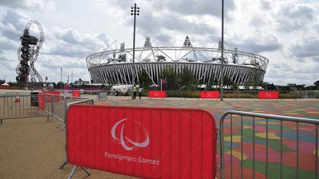 Paralympic Games signs are seen in front of the Olympic Stadium in the Olympic Park (Reuters)