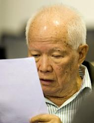 This photo, released by the Extraordinary Chamber in the Courts of Cambodia (ECCC) in November 2011, shows former Khmer Rouge head of state Khieu Samphan sitting in the courtroom at the ECCC in Phnom Penh