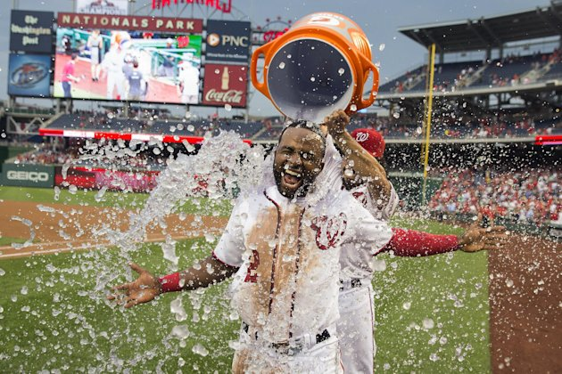 It's raining in Walk-Off City. (AP)