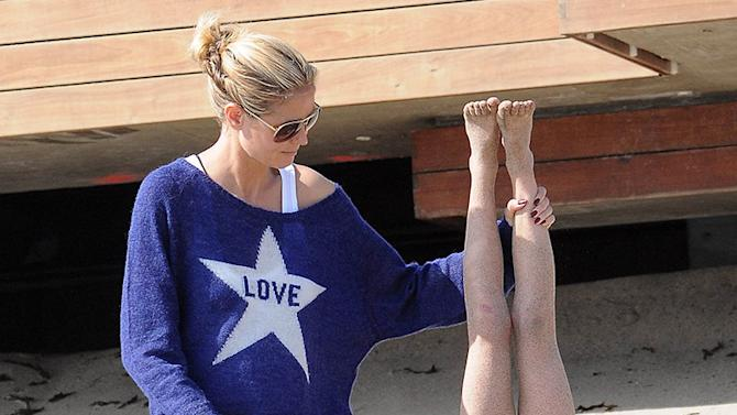 Heidi Klum with her family at the beach in Malibu