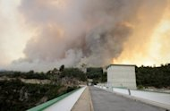 Wildfire is seen from the Boadellas reservoir on July 23, in Darnius, near La Junquera, close to the Spanish-French border. Hundreds of firefighters, backed by water-bombing planes, are battling the wind-fuelled fire in northeast Spain that so far has killed four people, including a teenage girl