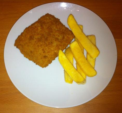 Typical menu of fish and chips