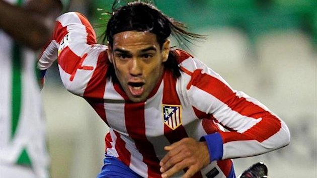 Falcao celebrating a goal against Betis