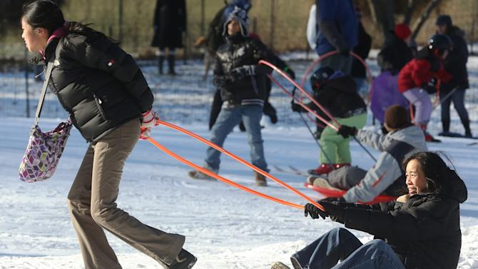 Snow Brought In To Central Park For Kids Winter Jam Event