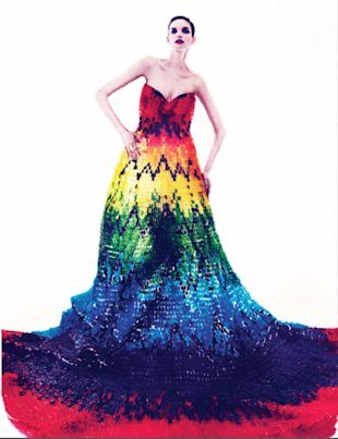 TWELV fashion magazine's editors created a dress made entirely out of gummy bears. (TWELV's Facebook page)
