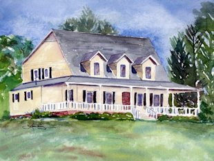 Custom Home Portrait by Laura Trevey