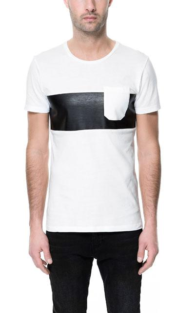 Zara T-Shirt With Faux Leather Stripe