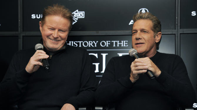 "Don Henley, left, and Glenn Frey of The Eagles take part in a Q&A session with reporters at the 2013 Sundance Film Festival, Saturday, Jan. 19, 2013, in Park City, Utah. The documentary film ""The History of The Eagles Part 1"" is being shown at the festival. (Photo by Chris Pizzello/Invision/AP)"