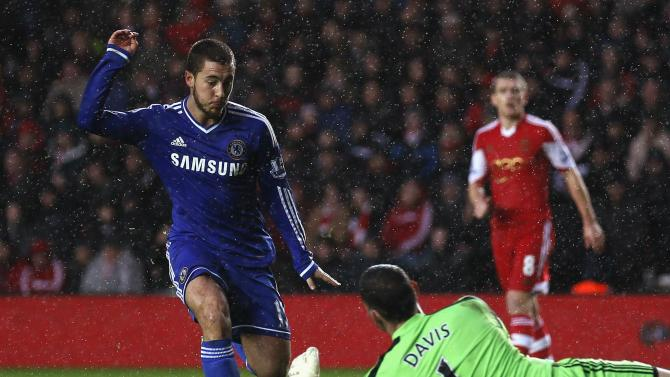 Southampton's Davis challenges Chelsea's Hazard during their English Premier League soccer match at St Mary's stadium in Southampton