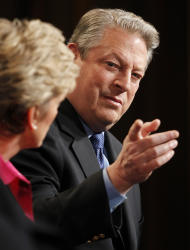 """Al Gore, Former Vice President and Current TV Chairman and Co-Founder and Jennifer Granholm, left, former Michigan Governor and host of the new television show """"The War Room with Jennifer Granholm, participates in the Current TV portion of the Television Critics Association Winter Press Tour in Pasadena , Calif. on Friday, Jan. 13, 2012. (AP Photo/Danny Moloshok)"""