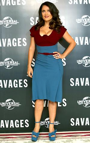 "Salma Hayek Sexts With Husband, Worries About Her ""Chubbiness"""
