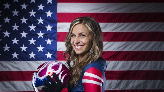 Olympic skeleton racer Noelle Pikus-Pace poses for a portrait during the 2013 U.S. Olympic Team Media Summit in Park City, Utah