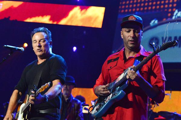 Bruce Springsteen and Tom Morello perform in Los Angeles, California.