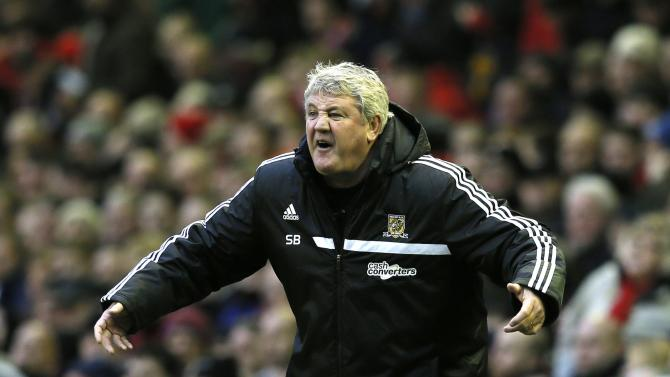 Hull City's manager Bruce reacts during their English Premier League soccer match against Liverpool at Anfield in Liverpool