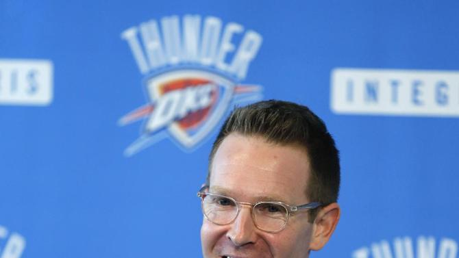 Sam Presti, general manager of the NBA's Oklahoma City Thunder basketball team, smiles as he answers questions during a news conference in Oklahoma City, Wednesday, Sept. 25, 2013