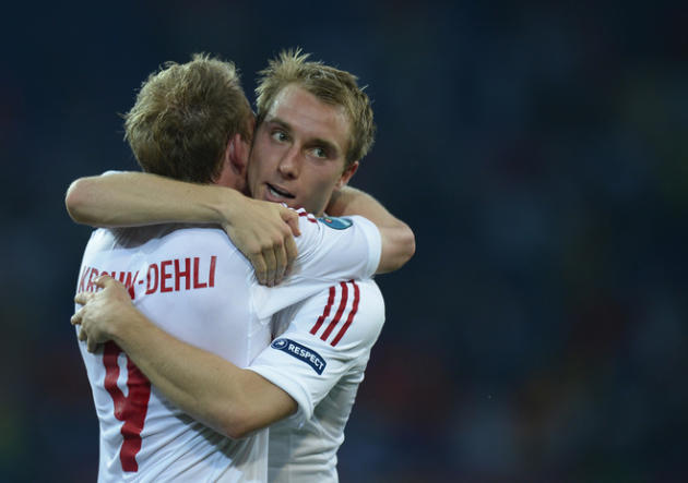 Danish Midfielder Michael Krohn-Dehli (L) And Forward Tobias Mikkelsen Celebrate AFP/Getty Images
