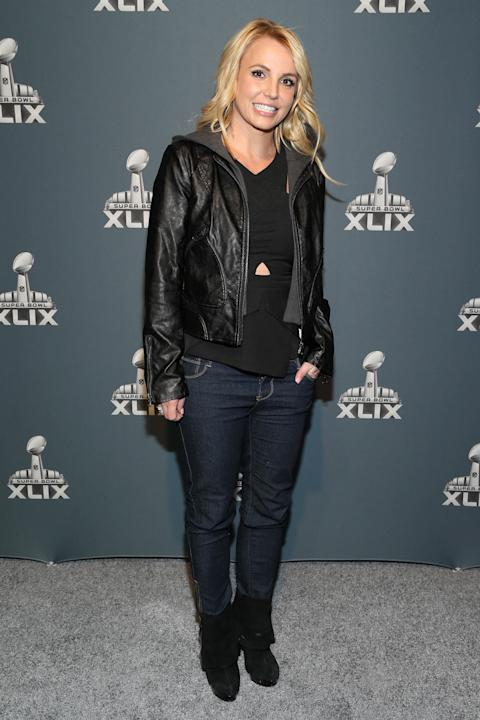Britney Spears arrives at the Super Bowl XLIX red carpet on Sunday, Feb. 1, 2015 in Glendale, Ariz. (Photo by Omar Vega/Invision/AP)
