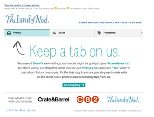 How Your Email Content Can Adapt to Gmail Tabs image email content gmail tabs land of nod