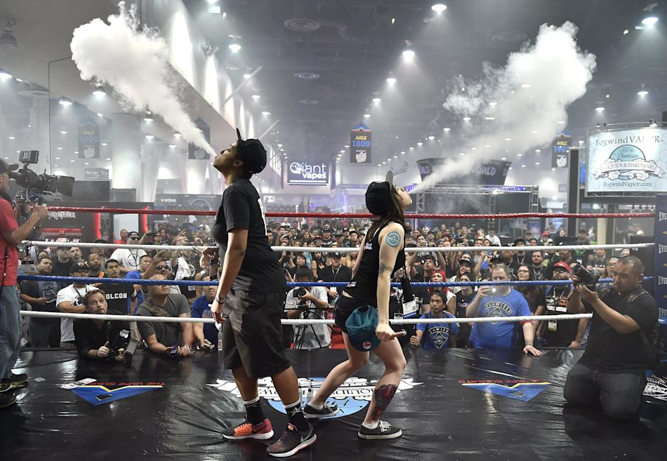Attendees compete in the biggest vape cloud competition at the Vape Summit 3 in Las Vegas, Nevada