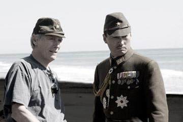 Director Clint Eastwood and Ken Watanabe on the set of Warner Bros. Pictures' Letters From Iwo Jima