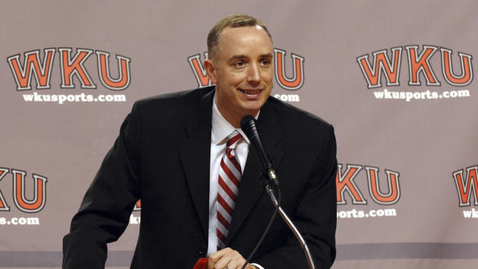 FILE - In this April 6, 2008 file photo, Ken McDonald speaks during a news conference after being named men's basketball coach at Western Kentucky, in Bowling Green, Ky. Western Kentucky University Athletics Director Ross Bjork said the school has dismissed McDonald as head basketball coach. In a statement released Friday, Jan. 6, 2012, Bjork said the program needed a new direction after a 5-11 start this season and declining attendance. (AP Photo/Daily News, Joe Imel, File)