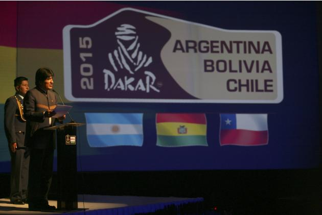 Bolivia's President Evo Morales speaks during a news conference about the 2015 Argentina-Bolivia-Chile Dakar rally in La Paz