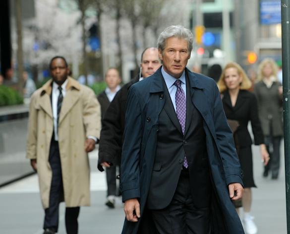 "Actor Richard Gere filming on location for ""Arbitrage"" on the streets of Manhattan on April 11, 2011 in New York City. (Photo by Bobby Bank/WireImage)"