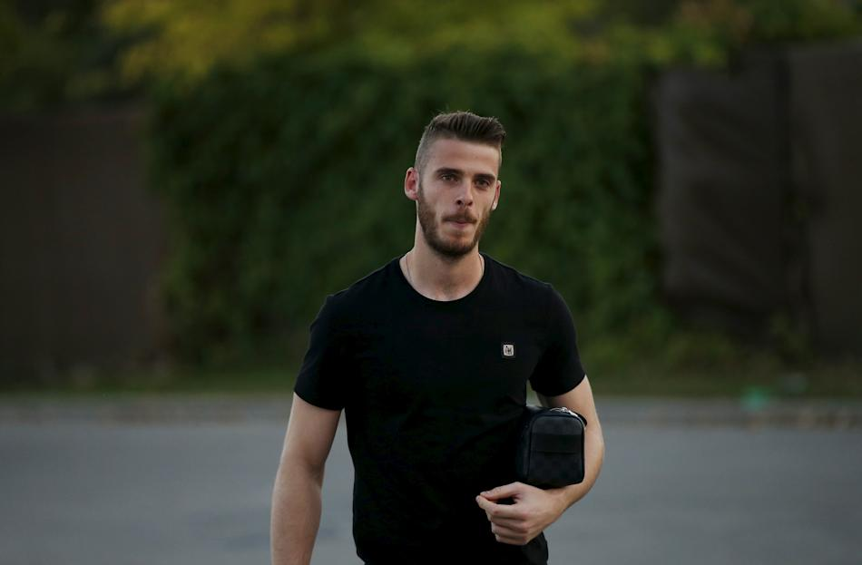 Manchester United's goalkeeper De Gea of Spain arrives at Soccer City grounds in Las Rozas, near Madrid