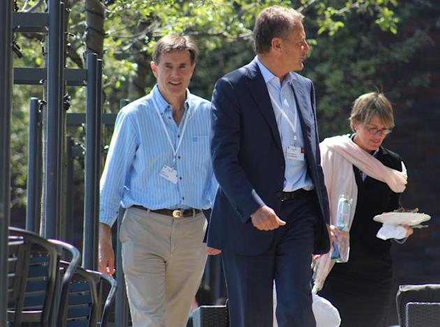 Sir John Sawers (left) at the 2014 Bilderberg conference in Copenhagen, with BP chair Carl-Henric Svanberg