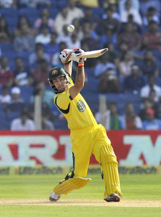 Glenn Maxwell plays a shot during the first ODI between India and Australia at Pune