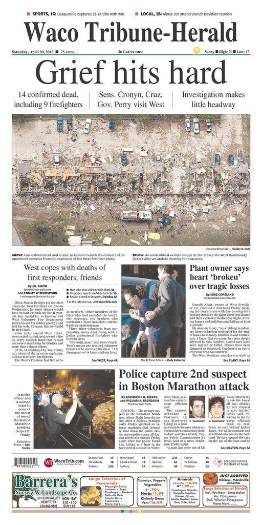 Newspaper covers of Boston bombing suspect's arrest