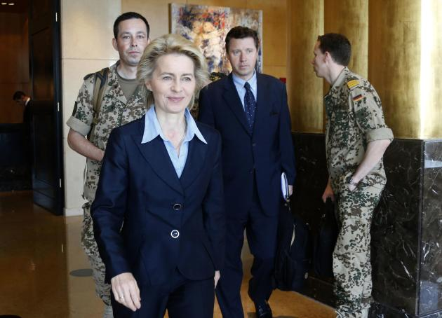 Germany's Defence Minister Von der leaves after a news conference in Beirut
