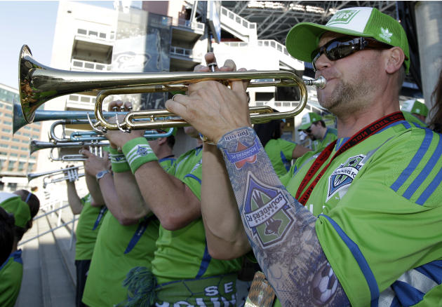 Randy burgeson a trumpet player with sound wave the for Seattle sounders tattoo