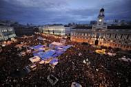 "A general view of the Puerta del Sol square in Madrid during a protest against Spain's economic crisis in May 2011. A year after taking Spain's streets and squares and sparking a global uprising against economic injustice, the ""indignants"" are plotting a comeback"