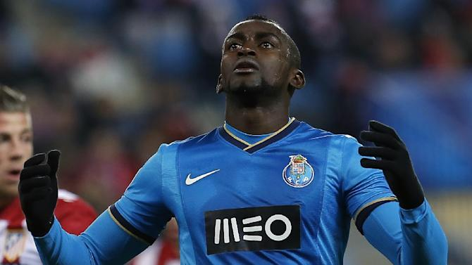 Porto's Jackson Martinez gestures during a Champions League Group G soccer match between Atletico Madrid and FC Porto, at the Vicente Calderon stadium in Madrid, Wednesday, Dec. 11, 2013