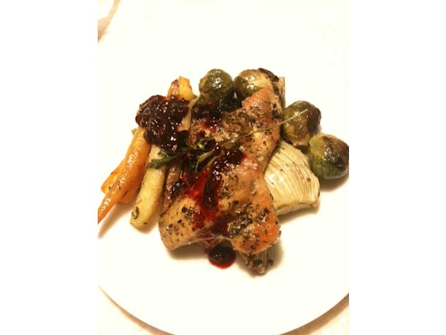 Roasted chicken and root vegetables