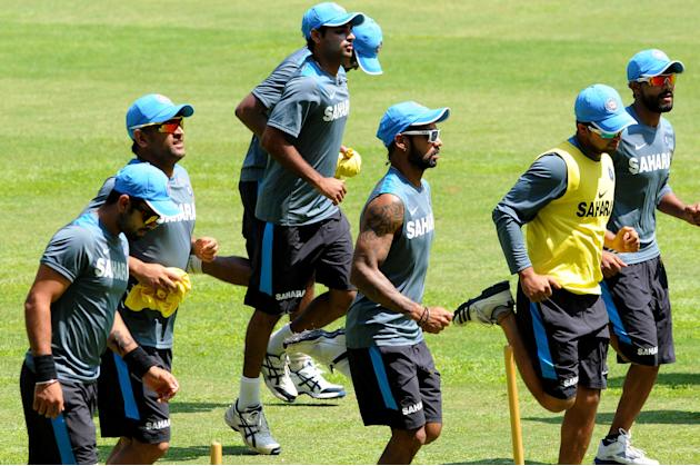 Indian cricket team during practice session at Chinnaswamy Stadium ahead of the last ODI between India and Australia in Bangalore on Nov.1, 2013. (Photo: IANS)