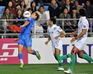 Ulsan Hyundai's Lee Keun-Ho (L) tries to get away from Al Ahli defender Haidar Alamer during the AFC Champions League final. The South Korean international winger did not score in the emphatic 3-0 victory over the Saudi side, but he was the key component as Ulsan completed a run of nine consecutive wins to lift the trophy for the first time