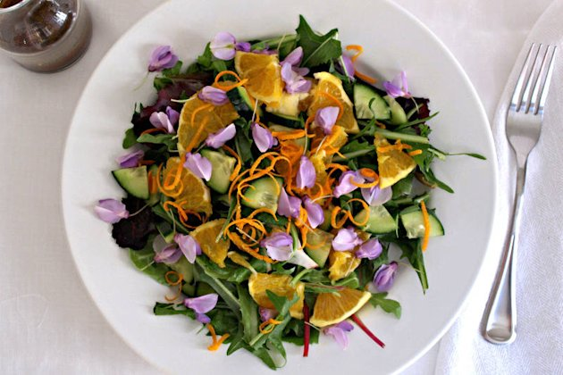 Spring Salad: Edible Flowers and Dandelion Greens