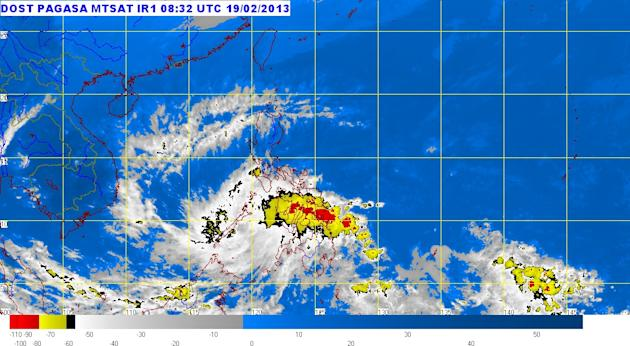 """The lowest public storm signal warning remained hoisted over several Mindanao provinces late Tuesday hours after tropical depression """"Crising"""" made landfall, the state weather bureau said. (Photo from Pagasa website, Feb. 19, 20o13, 5 p.m.)"""