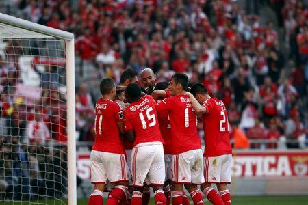Benfica's players celebrates a goal against Academica during their Portuguese Premier League soccer match at Luz stadium