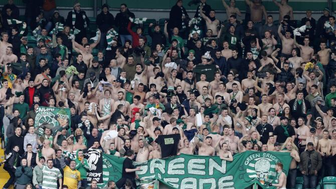 Celtic's supporters sing during their Scottish Premier League soccer match against St Johnstone in Glasgow